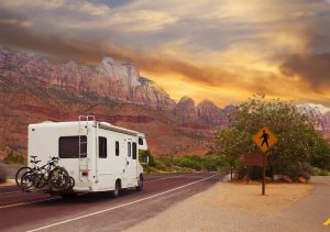 Motor home on the road, touring Utah, USA